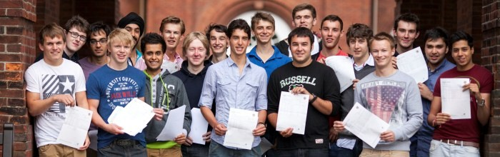 Picture by Chris Bull 16/8/12A Level results Day at Manchester Grammar School .